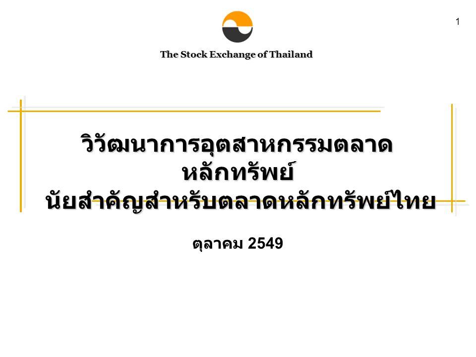 The Stock Exchange of Thailand 1 ตุลาคม 2549 วิวัฒนาการอุตสาหกรรมตลาด หลักทรัพย์ นัยสำคัญสำหรับตลาดหลักทรัพย์ไทย นัยสำคัญสำหรับตลาดหลักทรัพย์ไทย