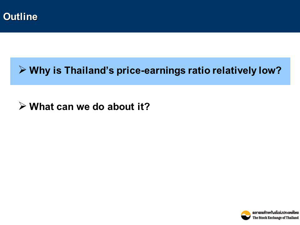 Outline  Why is Thailand's price-earnings ratio relatively low?  What can we do about it?