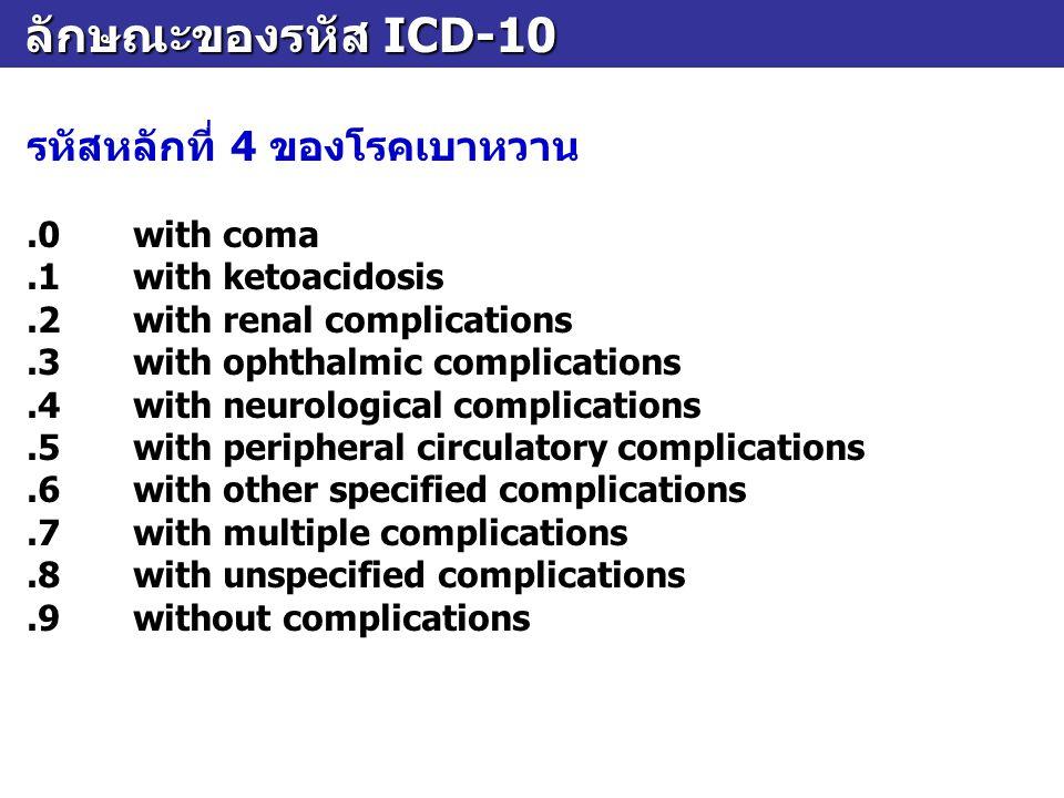 ลักษณะของรหัส ICD-10 ลักษณะของรหัส ICD-10 รหัสหลักที่ 4 ของโรคเบาหวาน.0with coma.1with ketoacidosis.2with renal complications.3with ophthalmic complic