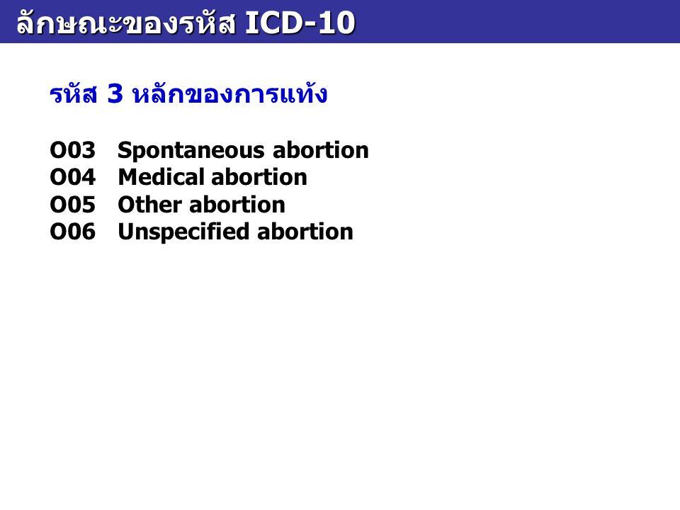 ลักษณะของรหัส ICD-10 ลักษณะของรหัส ICD-10 รหัส 3 หลักของการแท้ง O03Spontaneous abortion O04Medical abortion O05Other abortion O06Unspecified abortion