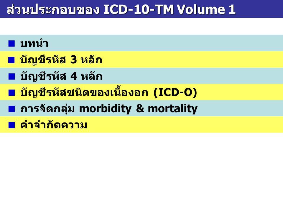 ส่วนประกอบของ ICD-10-TM Volume 1 ส่วนประกอบของ ICD-10-TM Volume 1  บทนำ  บัญชีรหัส 3 หลัก  บัญชีรหัส 4 หลัก  บัญชีรหัสชนิดของเนื้องอก (ICD-O)  กา
