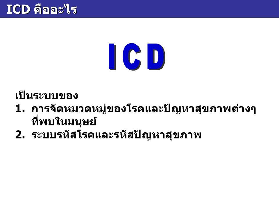 ICD คืออะไร ICD คืออะไร เป็นระบบของ 1.การจัดหมวดหมู่ของโรคและปัญหาสุขภาพต่างๆ ที่พบในมนุษย์ 2. ระบบรหัสโรคและรหัสปัญหาสุขภาพ