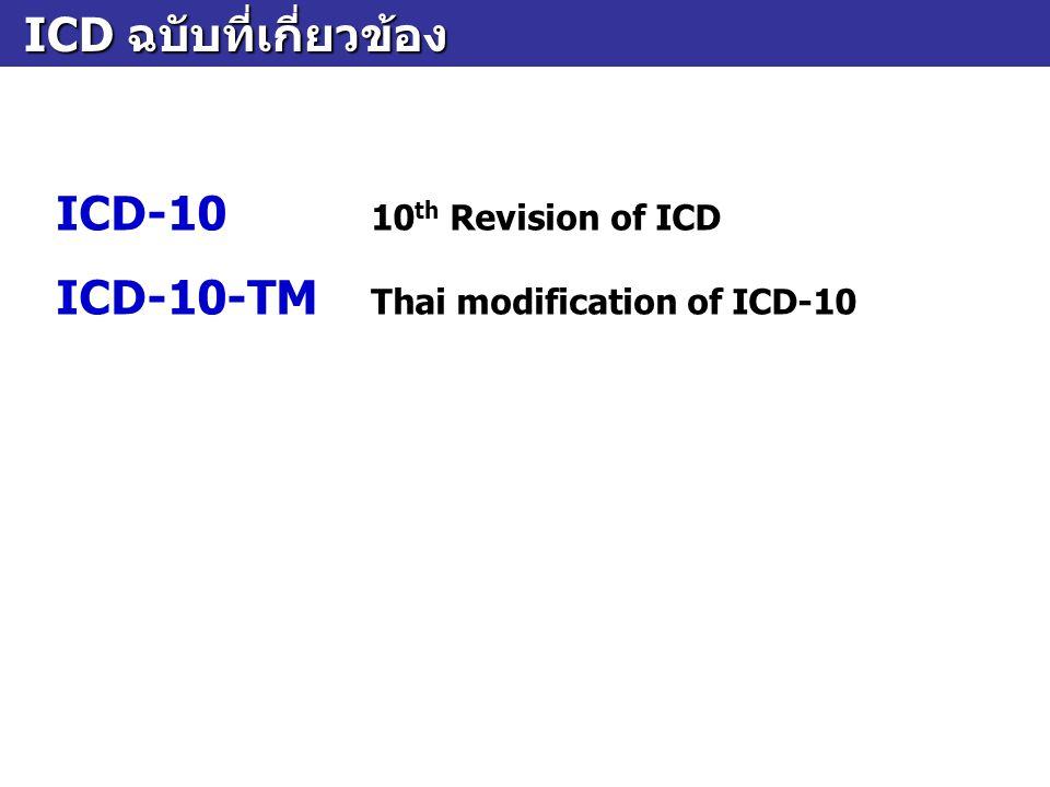 ลักษณะของรหัส ICD-10 ลักษณะของรหัส ICD-10  เป็นรหัสตัวอักษรผสมตัวเลข  แต่ละรหัสขึ้นต้นด้วยตัวอักษรภาษาอังกฤษตัวพิมพ์ ใหญ่ ตั้งแต่ A ถึง Z ตามด้วยเลขอารบิก 2 – 4 หลัก ระหว่างหลักที่ 3 และ 4 มีจุดคั่น เช่น A09 Diarrhoea and gastroenteritis of presumed infectious origin K52.9 Noninfective gastroenteritis and colitis, unspecified M00.96 Pyogenic arthritis, unspecified, of knee joint A09 Diarrhoea and gastroenteritis of presumed infectious origin K52.9 Noninfective gastroenteritis and colitis, unspecified M00.96 Pyogenic arthritis, unspecified, of knee joint
