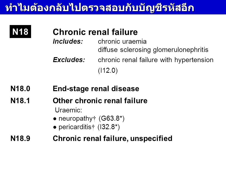 ทำไมต้องกลับไปตรวจสอบกับบัญชีรหัสอีก ทำไมต้องกลับไปตรวจสอบกับบัญชีรหัสอีก Chronic renal failure Includes:chronic uraemia diffuse sclerosing glomerulon
