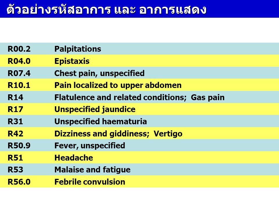 ตัวอย่างรหัสอาการ และ อาการแสดง ตัวอย่างรหัสอาการ และ อาการแสดง R00.2Palpitations R04.0Epistaxis R07.4Chest pain, unspecified R10.1Pain localized to u