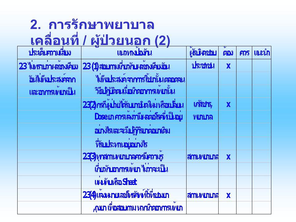 2. การรักษาพยาบาล เคลื่อนที่ / ผู้ป่วยนอก (2)