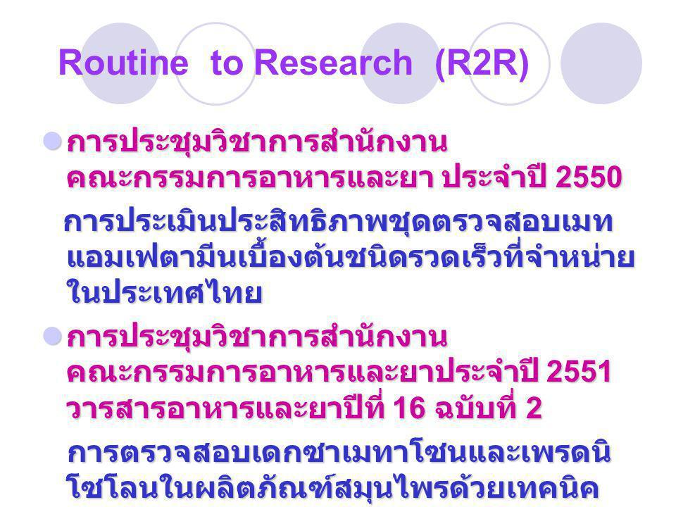  การประชุมวิชาการสำนักงาน คณะกรรมการอาหารและยา ประจำปี 2550 การประเมินประสิทธิภาพชุดตรวจสอบเมท แอมเฟตามีนเบื้องต้นชนิดรวดเร็วที่จำหน่าย ในประเทศไทย 
