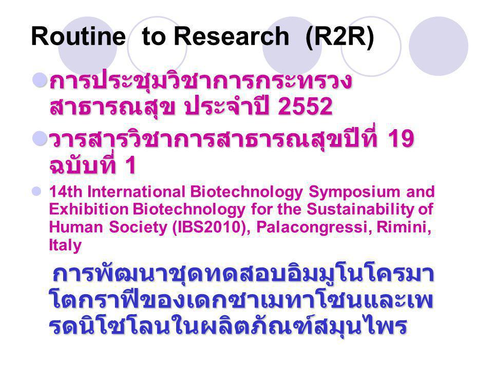  การประชุมวิชาการกระทรวง สาธารณสุข ประจำปี 2552  วารสารวิชาการสาธารณสุขปีที่ 19 ฉบับที่ 1  14th International Biotechnology Symposium and Exhibitio