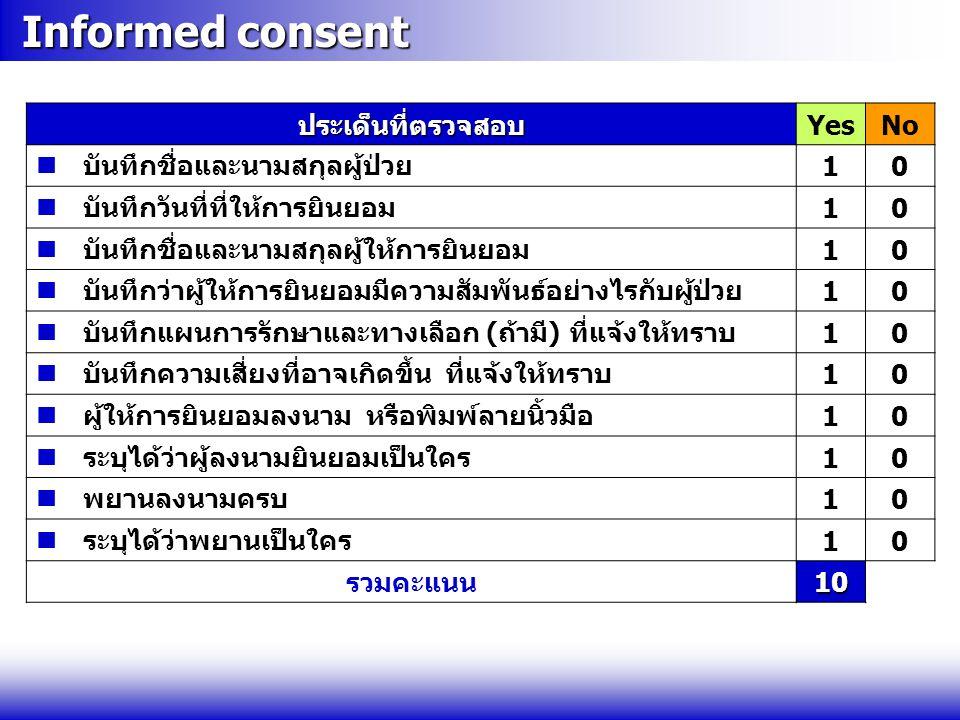 Informed consent Informed consentประเด็นที่ตรวจสอบYesNo  บันทึกชื่อและนามสกุลผู้ป่วย10  บันทึกวันที่ที่ให้การยินยอม10  บันทึกชื่อและนามสกุลผู้ให้กา