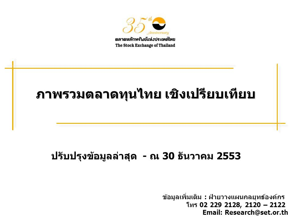 ภาพรวมตลาดทุนไทย เชิงเปรียบเทียบ ปรับปรุงข้อมูลล่าสุด - ณ 30 ธันวาคม 2553 ข้อมูลเพิ่มเติม : ฝ่ายวางแผนกลยุทธ์องค์กร โทร 02 229 2128, 2120 – 2122 Email: Research@set.or.th
