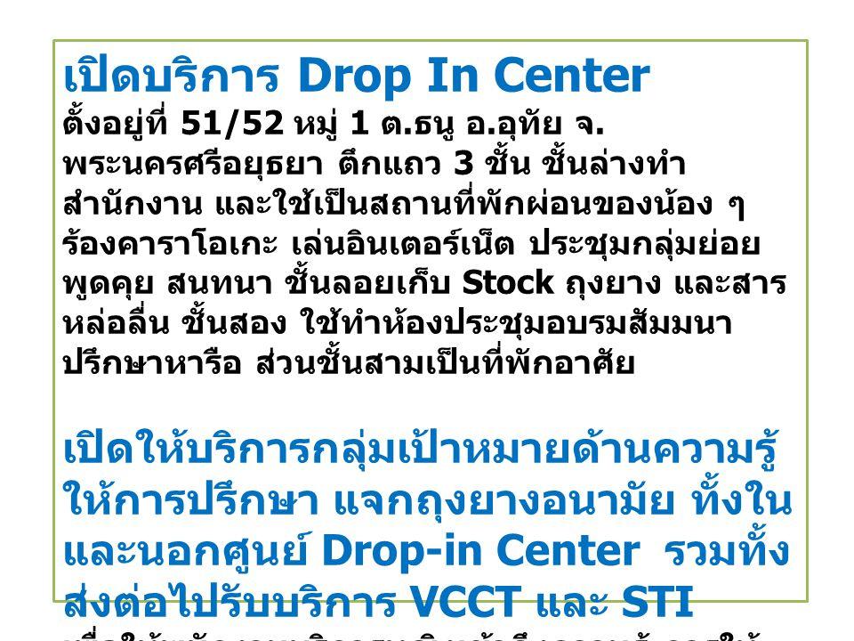 เปิดบริการ Drop In Center ตั้งอยู่ที่ 51/52 หมู่ 1 ต.