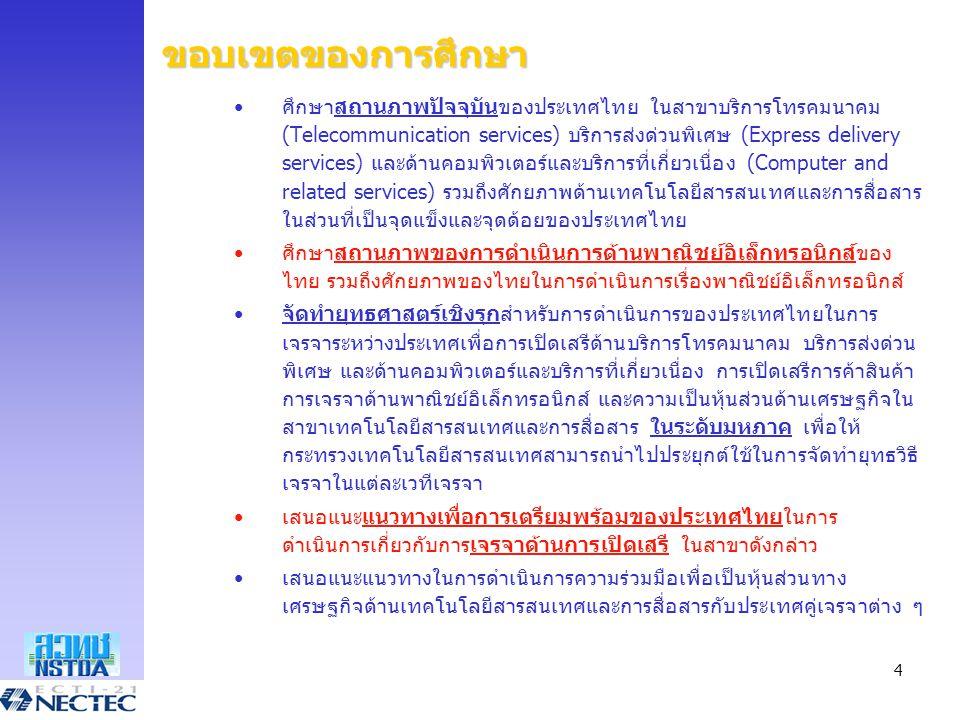 4 ขอบเขตของการศึกษา •ศึกษาสถานภาพปัจจุบันของประเทศไทย ในสาขาบริการโทรคมนาคม (Telecommunication services) บริการส่งด่วนพิเศษ (Express delivery services