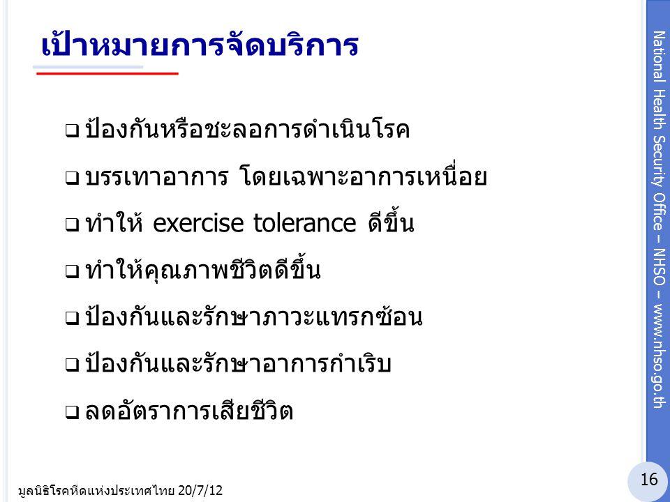 National Health Security Office – NHSO – www.nhso.go.th มูลนิธิโรคหืดแห่งประเทศไทย 20/7/12 เป้าหมายการจัดบริการ  ป้องกันหรือชะลอการดำเนินโรค  บรรเทา