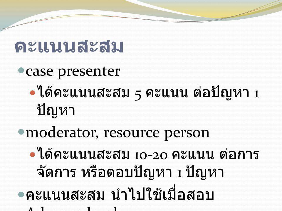 คะแนนสะสม  case presenter  ได้คะแนนสะสม 5 คะแนน ต่อปัญหา 1 ปัญหา  moderator, resource person  ได้คะแนนสะสม 10-20 คะแนน ต่อการ จัดการ หรือตอบปัญหา