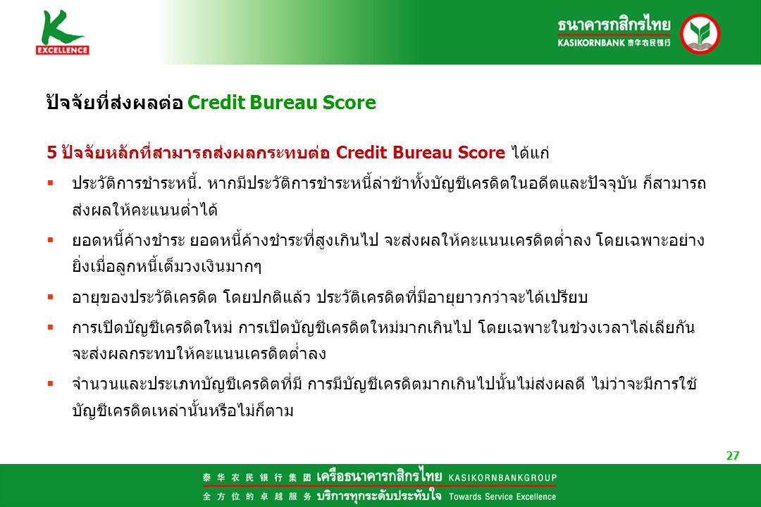 27 ปัจจัยที่ส่งผลต่อ Credit Bureau Score 5 ปัจจัยหลักที่สามารถส่งผลกระทบต่อ Credit Bureau Score ได้แก่  ประวัติการชำระหนี้.