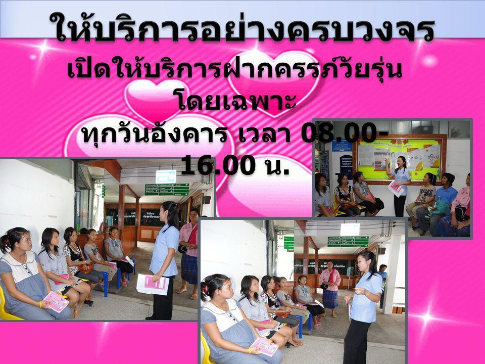 เปิดให้บริการฝากครรภ์วัยรุ่น โดยเฉพาะ ทุกวันอังคาร เวลา 08.00- 16.00 น.