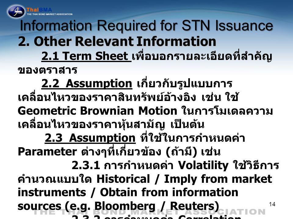 14 2. Other Relevant Information 2.1 Term Sheet เพื่อบอกรายละเอียดที่สำคัญ ของตราสาร 2.2 Assumption เกี่ยวกับรูปแบบการ เคลื่อนไหวของราคาสินทรัพย์อ้างอ