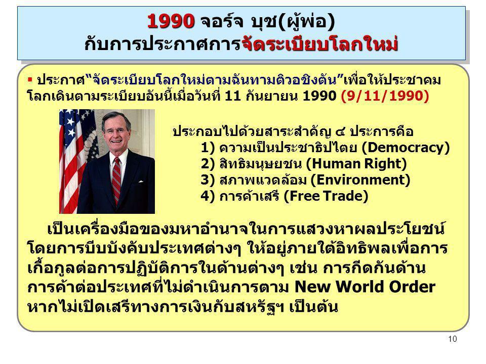 """10  ประกาศ""""จัดระเบียบโลกใหม่ตามฉันทามติวอชิงตัน""""เพื่อให้ประชาคม โลกเดินตามระเบียบอันนี้เมื่อวันที่ 11 กันยายน 1990 (9/11/1990) ประกอบไปด้วยสาระสำคัญ"""