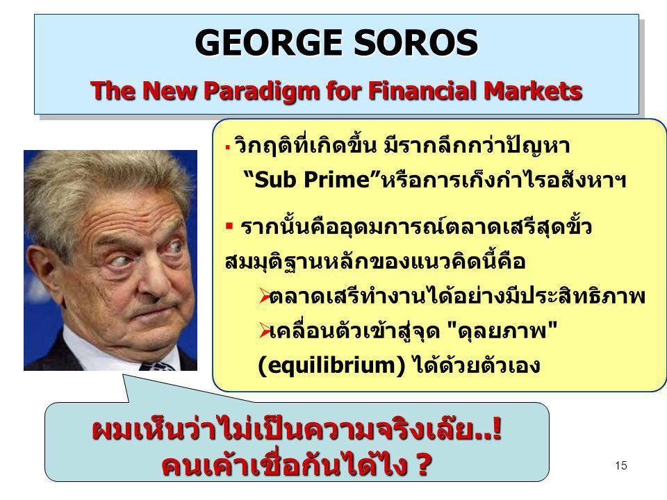 "15 GEORGE SOROS The New Paradigm for Financial Markets  วิกฤติที่เกิดขึ้น มีรากลึกกว่าปัญหา ""Sub Prime""หรือการเก็งกำไรอสังหาฯ  รากนั้นคืออุดมการณ์ตล"