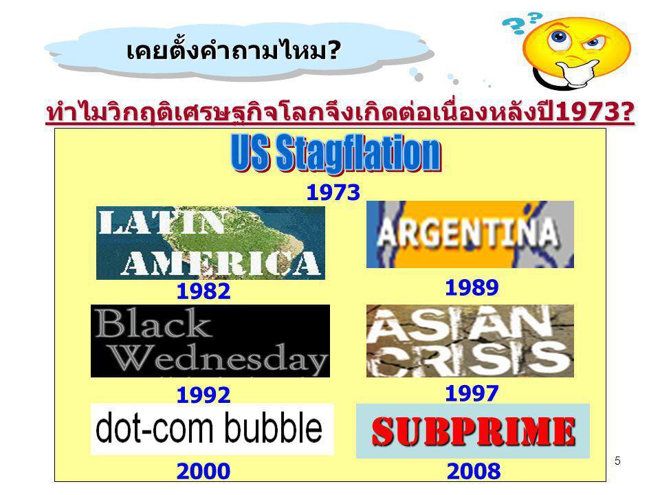 5 SUBPRIME ทำไมวิกฤติเศรษฐกิจโลกจึงเกิดต่อเนื่องหลังปี1973? เคยตั้งคำถามไหม?เคยตั้งคำถามไหม? 1992 1997 20082000 1989 1982 1973