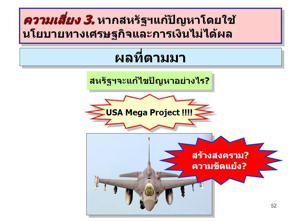 52 ผลที่ตามมา สหรัฐฯจะแก้ไขปัญหาอย่างไร? สร้างสงคราม? ความขัดแย้ง? USA Mega Project !!!! ความเสี่ยง 3. ความเสี่ยง 3. หากสหรัฐฯแก้ปัญหาโดยใช้ นโยบายทาง