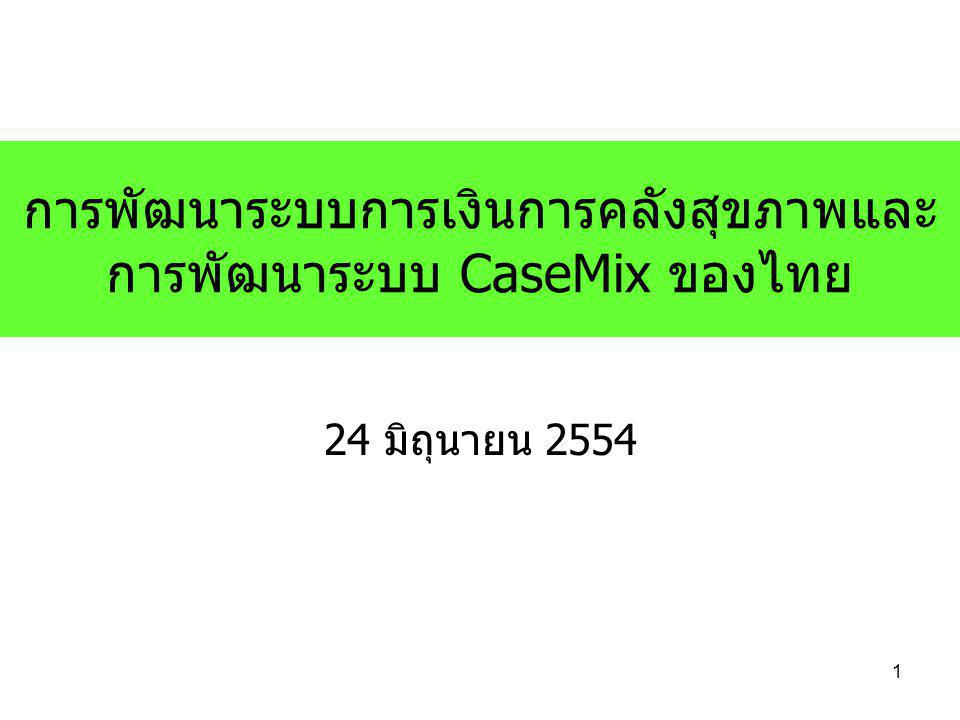 2 หัวข้อนำเสนอ 1.การบริหารงบประมาณด้านสุขภาพ 2.กลไกกลางในการจ่ายชดเชย 3.การพัฒนาระบบ CaseMix ของไทย 4.Thai CaseMix Centre 5.ยุทธศาสตร์ 6.โครงสร้างบริหาร 7.ปัจจัยสำคัญ