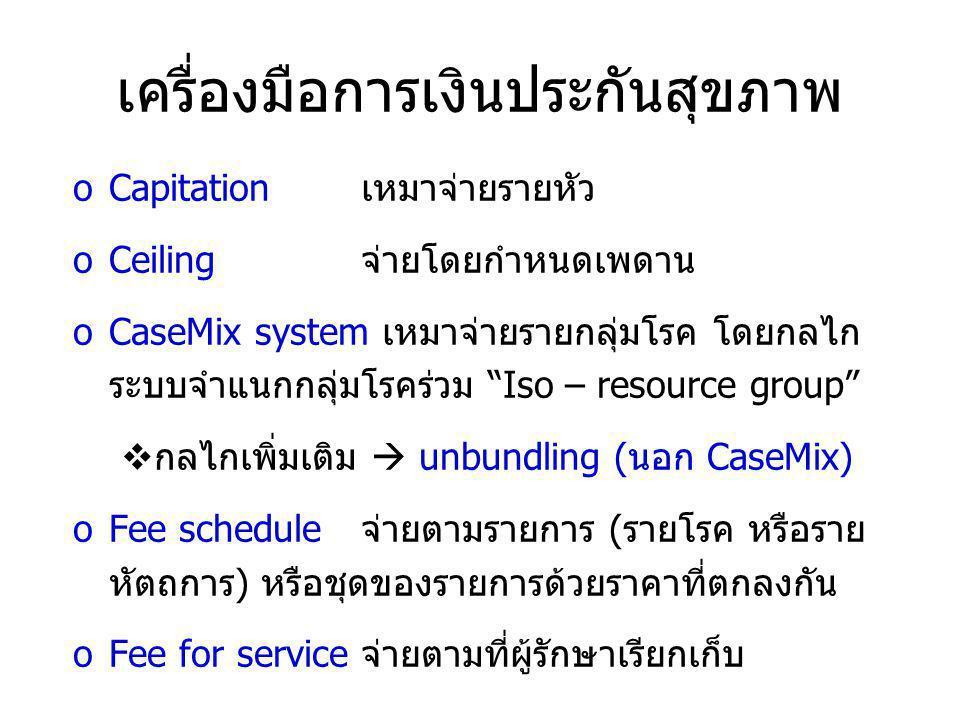 เครื่องมือการเงินประกันสุขภาพ oCapitationเหมาจ่ายรายหัว oCeiling จ่ายโดยกำหนดเพดาน oCaseMix system เหมาจ่ายรายกลุ่มโรค โดยกลไก ระบบจำแนกกลุ่มโรคร่วม Iso – resource group  กลไกเพิ่มเติม  unbundling (นอก CaseMix) oFee schedule จ่ายตามรายการ (รายโรค หรือราย หัตถการ) หรือชุดของรายการด้วยราคาที่ตกลงกัน oFee for serviceจ่ายตามที่ผู้รักษาเรียกเก็บ