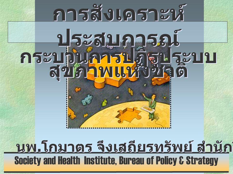 • สร้างวิธีคิดสุขภาพ ใหม่ ( สัมมาทิฐิ ) • เน้นการสร้างวัฒนธรรมสุขภาพ ด้วยเครือข่ายที่เข้มแข็งของประชาคม • เน้นการสร้างวัฒนธรรมสุขภาพ ด้วยเครือข่ายที่เข้มแข็งของประชาคม • สร้างเสริม Deliberative function ของระบบอภิบาลองค์การ • สร้างเสริม Deliberative function ของระบบอภิบาลองค์การ จุดเน้นที่ควรเป็น หัวใจการปฏิรูป • เรียนรู้การทำงานที่เสริมแรงกัน เพื่อแก้ปัญหาที่ยาก • เรียนรู้การทำงานที่เสริมแรงกัน เพื่อแก้ปัญหาที่ยาก