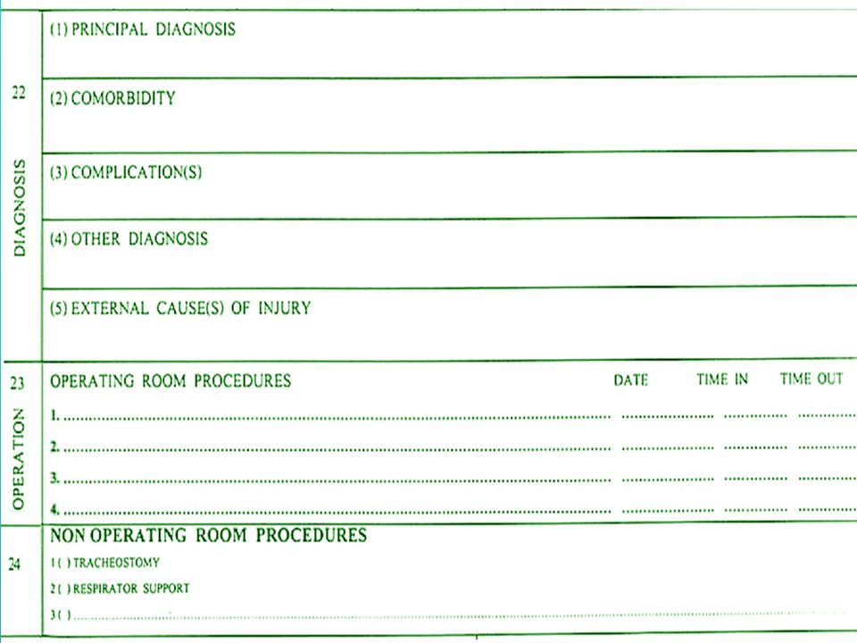 องค์ประกอบของ DRG •รหัสการวินิจฉัยโรค (ICD-10 (WHO)) •รหัสหัตถการ (ICD-9-CM) •อายุ •เพศ •น้ำหนักตัวในเด็กอายุน้อยกว่า 1 ปี •ชนิดของการจำหน่ายจากหน่วยบริการ •ค่าใช้จ่ายที่เกิดขึ้นในครั้งนั้น