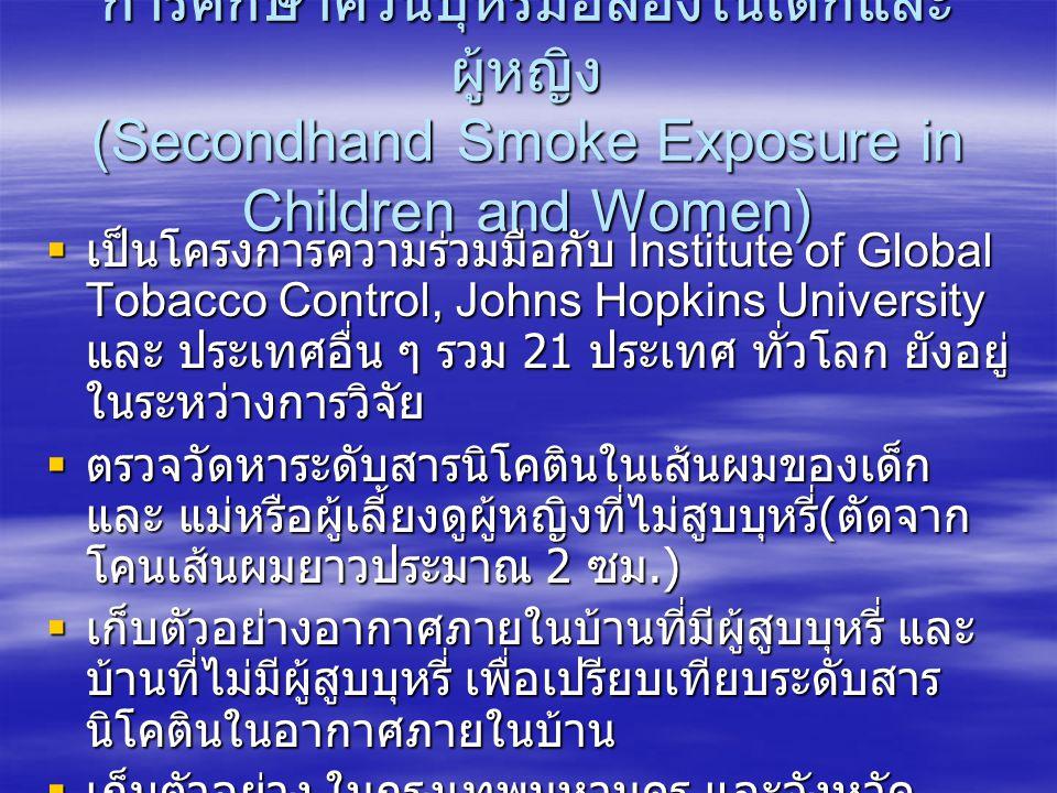 การศึกษาควันบุหรี่มือสองในเด็กและ ผู้หญิง (Secondhand Smoke Exposure in Children and Women)  เป็นโครงการความร่วมมือกับ Institute of Global Tobacco Co