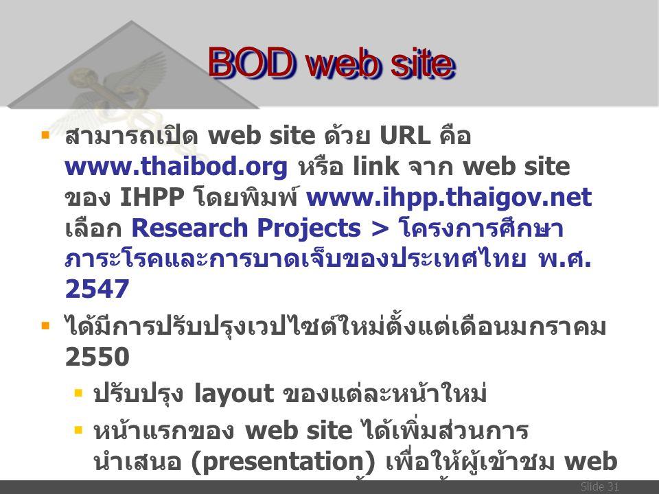 Slide 31 BOD web site  สามารถเปิด web site ด้วย URL คือ www.thaibod.org หรือ link จาก web site ของ IHPP โดยพิมพ์ www.ihpp.thaigov.net เลือก Research