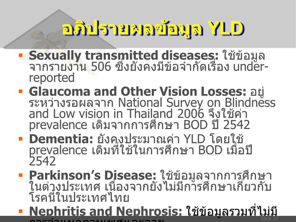 Slide 37 อภิปรายผลข้อมูล YLD  Sexually transmitted diseases: ใช้ข้อมูล จากรายงาน 506 ซึ่งยังคงมีข้อจำกัดเรื่อง under- reported  Glaucoma and Other V