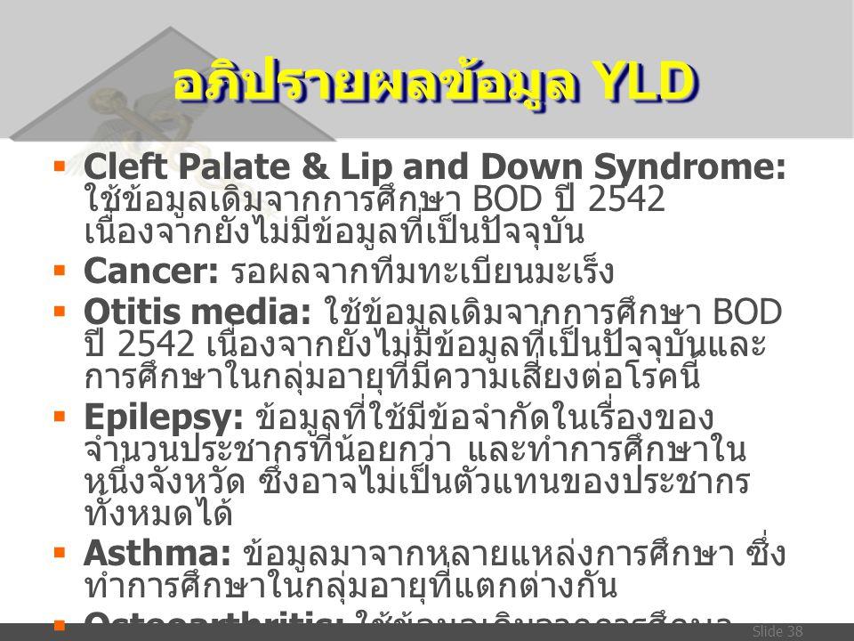Slide 38 อภิปรายผลข้อมูล YLD  Cleft Palate & Lip and Down Syndrome: ใช้ข้อมูลเดิมจากการศึกษา BOD ปี 2542 เนื่องจากยังไม่มีข้อมูลที่เป็นปัจจุบัน  Can