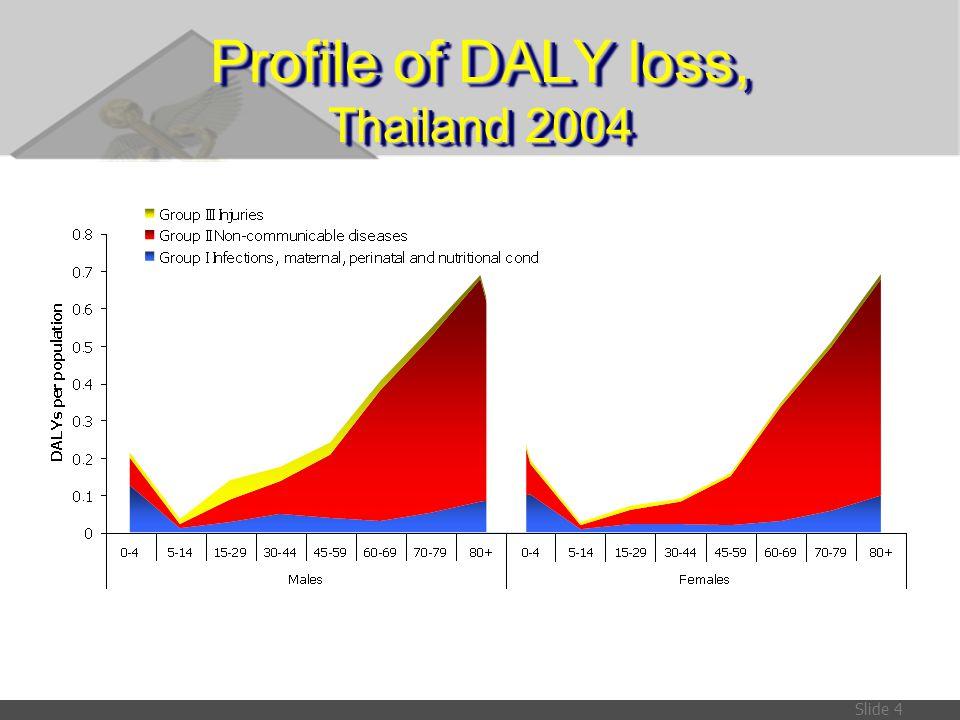 Slide 35 แหล่งข้อมูลเหมือนปีการศึกษาใน ปี 2542 STD Syphilis:ข้อมูลผู้บริจาคเลือดสภากาชาด ปี 2542, Chlamydia: GBD-OAI ปี 2533 HIV/AIDSรายงานการคาดประมาณจำนวนผู้ติดเชื้อของประเทศไทย ปี 2543-2563 Hypertension in pregnancyการศึกษาของ ภิเศก ลุมพิกานนท์ (2543) และ รัตนา คำวิลัยศักดิ์ (2541) Abortionการสำรวจภาวะสุขภาพโดยการตรวจร่างกาย ปี 2539-40 Birth trauma & asphyxiaการศึกษาของ ภิเศก ลุมพิกานนท์, และ ณรงค์ วณิยกูล และคณะ ปี 2543 Dementiaการสำรวจภาวะสุขภาพโดยการตรวจร่างกาย ปี 2539-40 Parkinson s diseaseการประมาณขององค์การอนามัยโลก (GBD-OAI) ปี 2533 * Glaucoma, Other vision losses การสำรวจภาวะการมองเห็น ปี 2539-2540 COPD (emphysema)การสำรวจภาวะสุขภาพโดยการตรวจร่างกาย ปี 2534 Cirrhosisความชุกของพาหะ HBV ปี 2541 (ยง ภู่วรวรรณและคณะ ปี 2544) Benign prostatic hypertrophy การประมาณขององค์การอนามัยโลก (GBD-OAI) ปี 2533 Congenital anomalies Down syndrome การศึกษาของ พรสวรรค์ วสันต์ ปี 2537 *อยู่ระหว่างรอผลการศึกษา