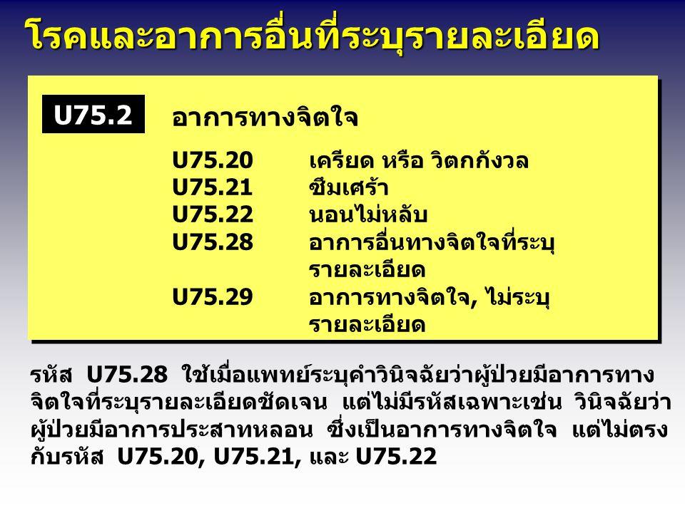 โรคและอาการอื่นที่ระบุรายละเอียด โรคและอาการอื่นที่ระบุรายละเอียด อาการทางจิตใจ U75.20เครียด หรือ วิตกกังวล U75.21ซึมเศร้า U75.22นอนไม่หลับ U75.28อากา