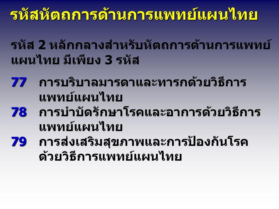 รหัสหัตถการด้านการแพทย์แผนไทย รหัสหัตถการด้านการแพทย์แผนไทย รหัส 2 หลักกลางสำหรับหัตถการด้านการแพทย์ แผนไทย มีเพียง 3 รหัส 77 78 79 77การบริบาลมารดาและทารกด้วยวิธีการ แพทย์แผนไทย 78การบำบัดรักษาโรคและอาการด้วยวิธีการ แพทย์แผนไทย 79การส่งเสริมสุขภาพและการป้องกันโรค ด้วยวิธีการแพทย์แผนไทย