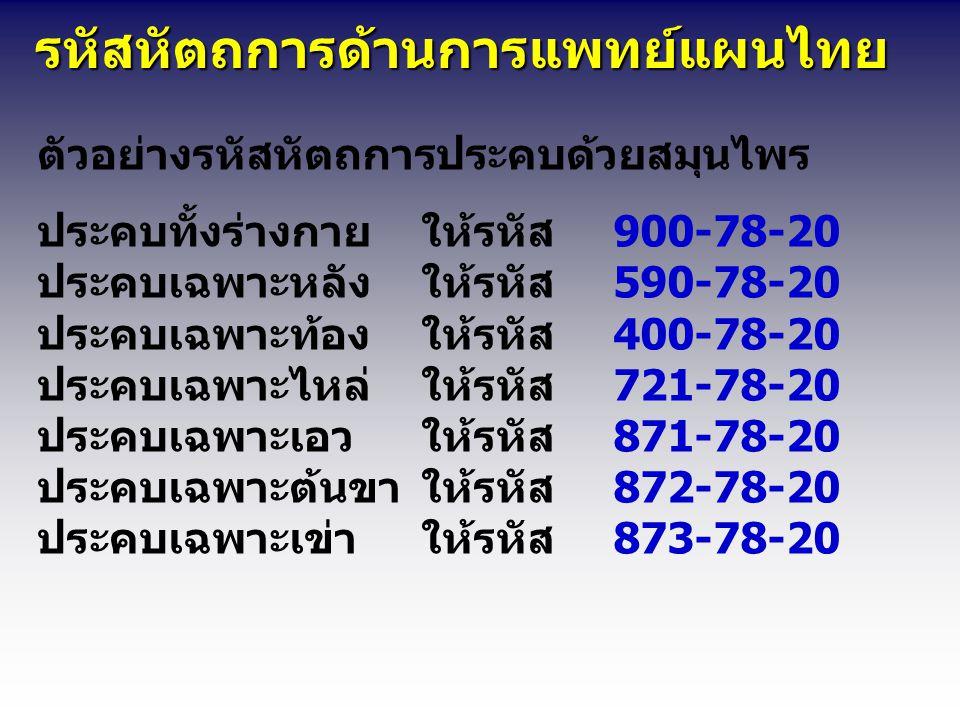 รหัสหัตถการด้านการแพทย์แผนไทย รหัสหัตถการด้านการแพทย์แผนไทย ตัวอย่างรหัสหัตถการประคบด้วยสมุนไพร ประคบทั้งร่างกายให้รหัส900-78-20 ประคบเฉพาะหลังให้รหัส590-78-20 ประคบเฉพาะท้องให้รหัส400-78-20 ประคบเฉพาะไหล่ให้รหัส721-78-20 ประคบเฉพาะเอวให้รหัส871-78-20 ประคบเฉพาะต้นขาให้รหัส872-78-20 ประคบเฉพาะเข่าให้รหัส873-78-20