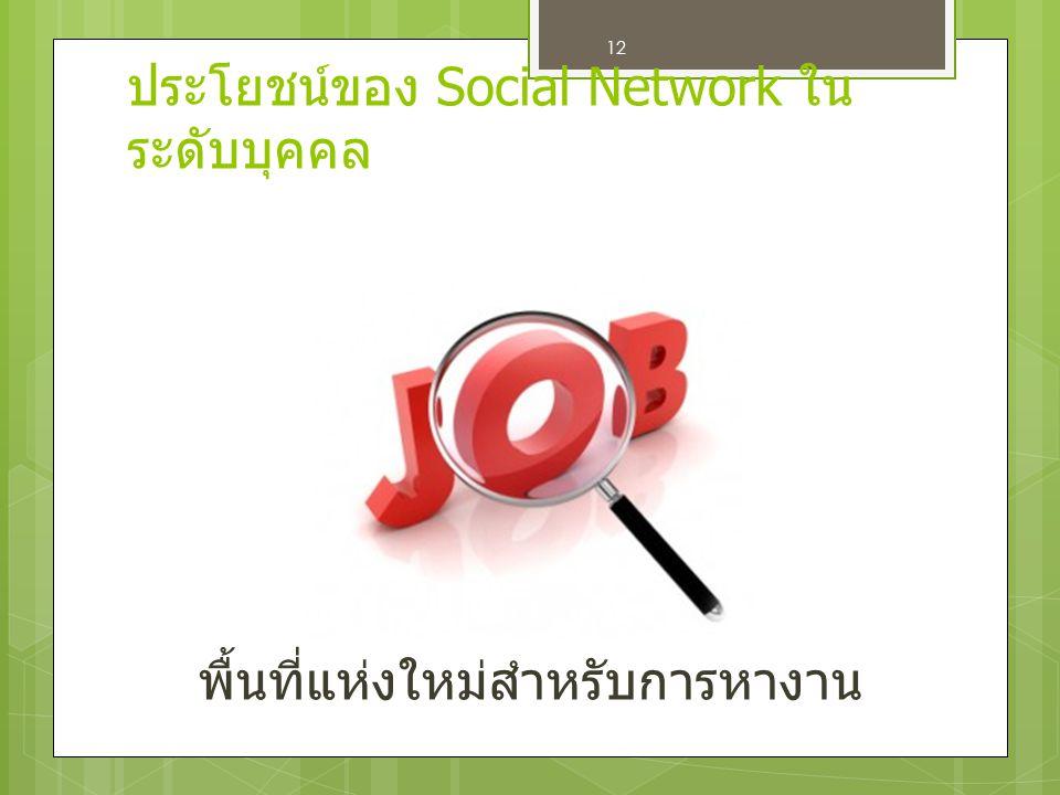 12 พื้นที่แห่งใหม่สำหรับการหางาน ประโยชน์ของ Social Network ใน ระดับบุคคล