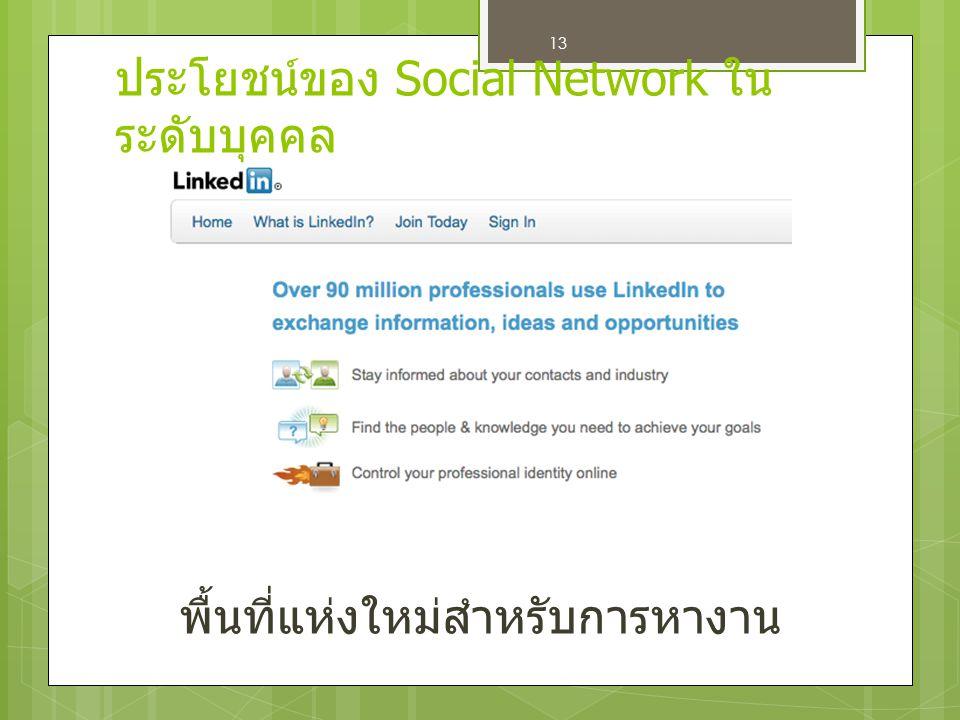 13 พื้นที่แห่งใหม่สำหรับการหางาน ประโยชน์ของ Social Network ใน ระดับบุคคล