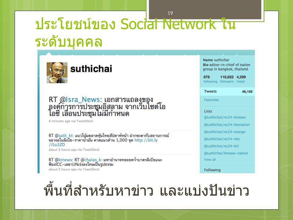 19 พื้นที่สำหรับหาข่าว และแบ่งปันข่าว ประโยชน์ของ Social Network ใน ระดับบุคคล