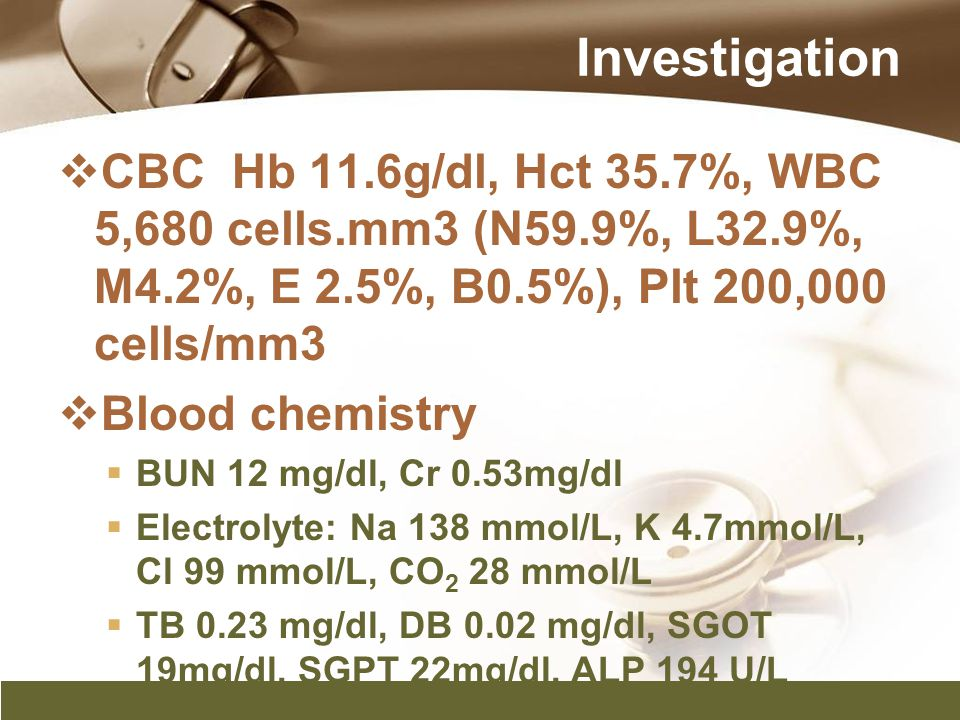 Investigation  CBC Hb 11.6g/dl, Hct 35.7%, WBC 5,680 cells.mm3 (N59.9%, L32.9%, M4.2%, E 2.5%, B0.5%), Plt 200,000 cells/mm3  Blood chemistry  BUN
