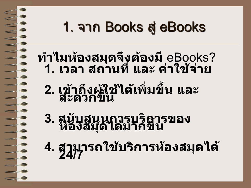 1. จาก Books สู่ eBooks ทำไมห้องสมุดจึงต้องมี eBooks? 1. เวลา สถานที่ และ ค่าใช้จ่าย 2. เข้าถึงผู้ใช้ได้เพิ่มขึ้น และ สะดวกขึ้น 3. สนับสนุนการบริการขอ