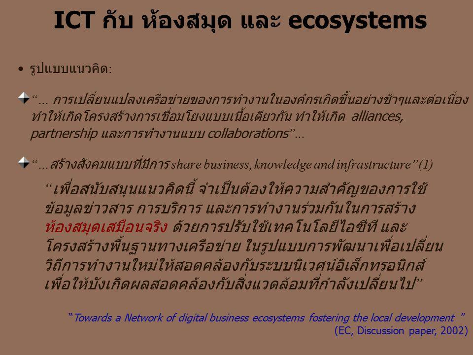 """ICT กับ ห้องสมุด และ ecosystems •รูปแบบแนวคิด : """"… การเปลี่ยนแปลงเครือข่ายของการทำงานในองค์กรเกิดขึ้นอย่างช้าๆและต่อเนื่อง ทำให้เกิดโครงสร้างการเชื่อม"""