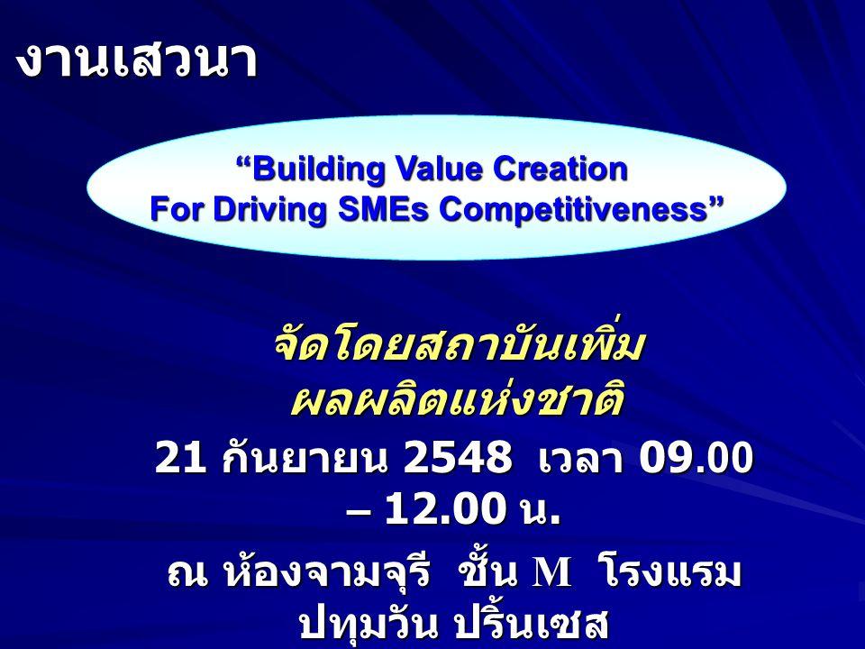 Symposium on Strategic Alliances among SMEs through Technology Fusion บัวรัตน์ ศรีนิล ภาควิชาการตลาด คณะพาณิชยศาสตร์และการบัญชี มหาวิทยาลัยธรรมศาสตร์ จาก ความร่วมมือเพื่อพัฒนาขีดความสามารถ ด้านเทคโนโลยีของ SMEs จัดโดย APO ณ ประเทศ ปากีสถาน โดย....