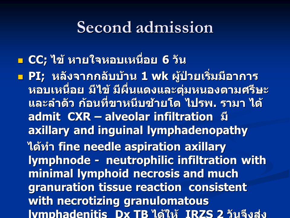 Second admission  CC; ไข้ หายใจหอบเหนื่อย 6 วัน  PI; หลังจากกลับบ้าน 1 wk ผู้ป่วยเริ่มมีอาการ หอบเหนื่อย มีไข้ มีผื่นแดงและตุ่มหนองตามศรีษะ และลำตัว