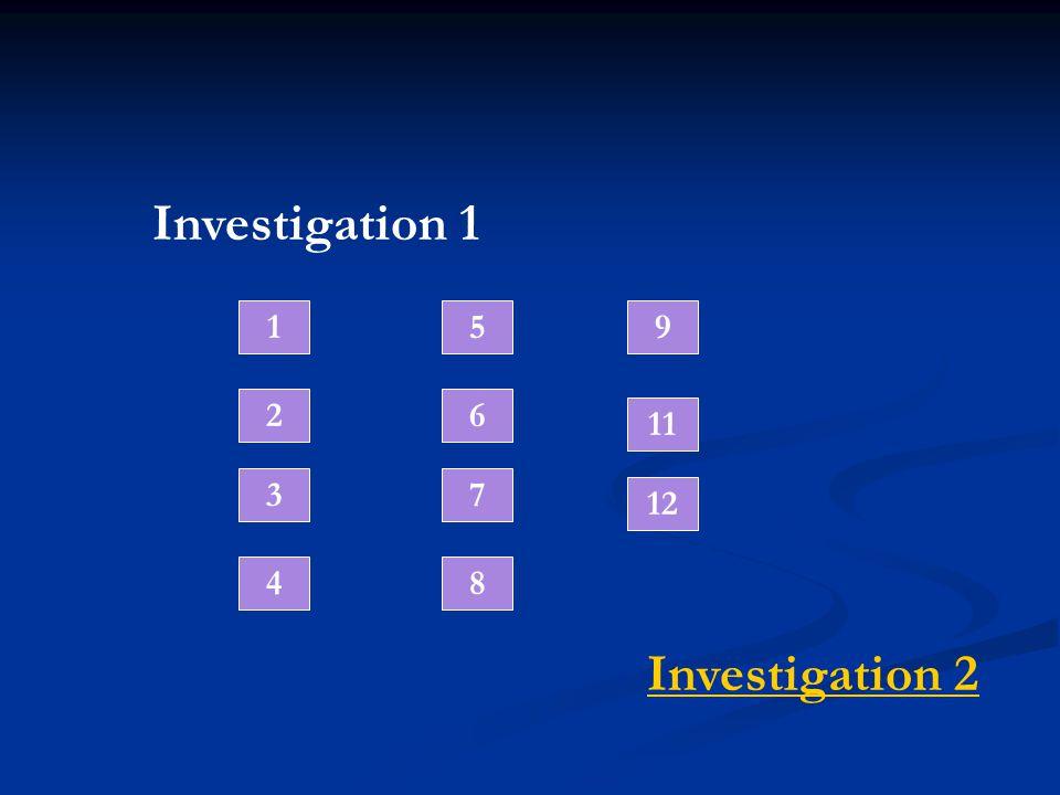 Investigation 1 1 2 3 4 5 6 7 8 9 12 Investigation 2 11