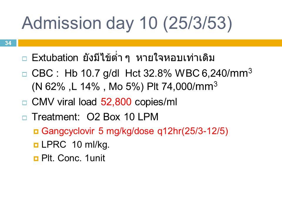 34 Admission day 10 (25/3/53)  Extubation ยังมีไข้ต่ำ ๆ หายใจหอบเท่าเดิม  CBC : Hb 10.7 g/dl Hct 32.8% WBC 6,240/ mm 3 (N 62%,L 14%, Mo 5%) Plt 74,000/ mm 3  CMV viral load 52,800 copies/ml  Treatment: O2 Box 10 LPM  Gangcyclovir 5 mg/kg/dose q12hr(25/3-12/5)  LPRC 10 ml/kg.