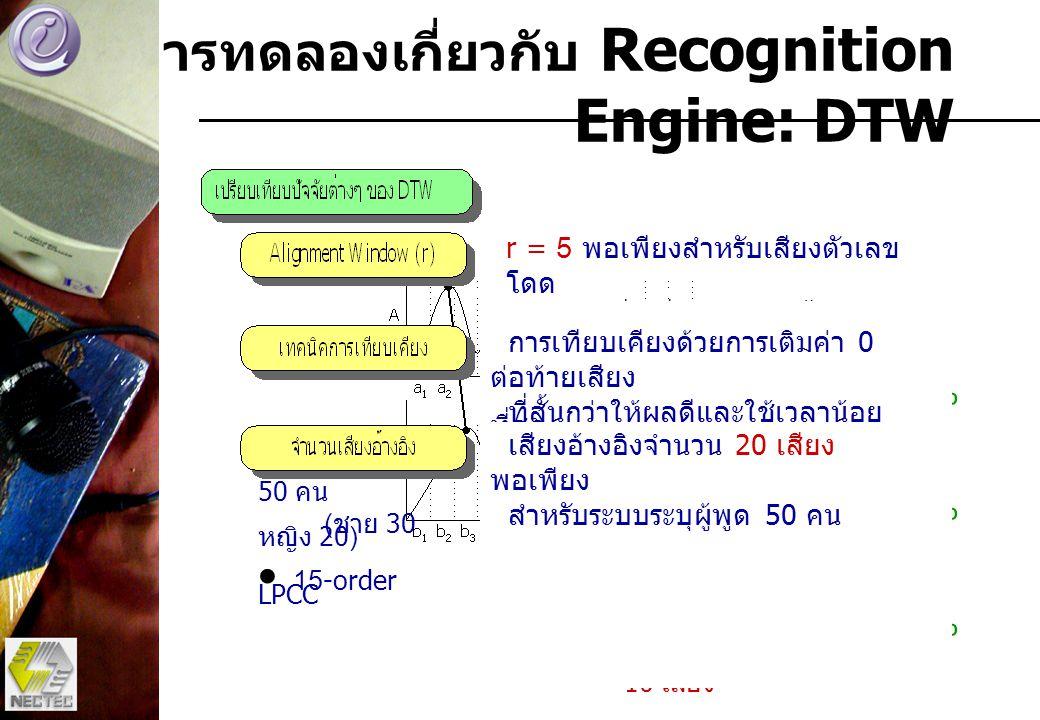 การทดลองเกี่ยวกับ Recognition Engine: DTW r = 5 พอเพียงสำหรับเสียงตัวเลข โดด r ควรจะเพิ่มเมื่อเสียงยาวขึ้น 84.53% 71.32% 84.29% การเทียบเคียงด้วยการเต