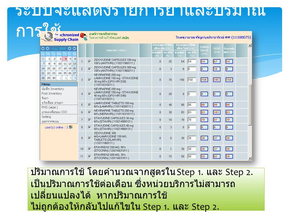 ระบบจะแสดงรายการยาและปริมาณ การใช้ ปริมาณการใช้ โดยคำนวณจากสูตรใน Step 1.