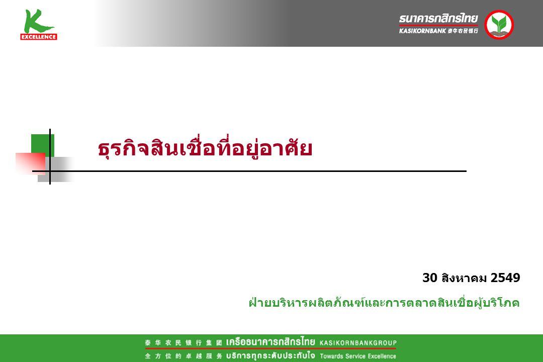 30 สิงหาคม 2549 ฝ่ายบริหารผลิตภัณฑ์และการตลาดสินเชื่อผู้บริโภค ธุรกิจสินเชื่อที่อยู่อาศัย